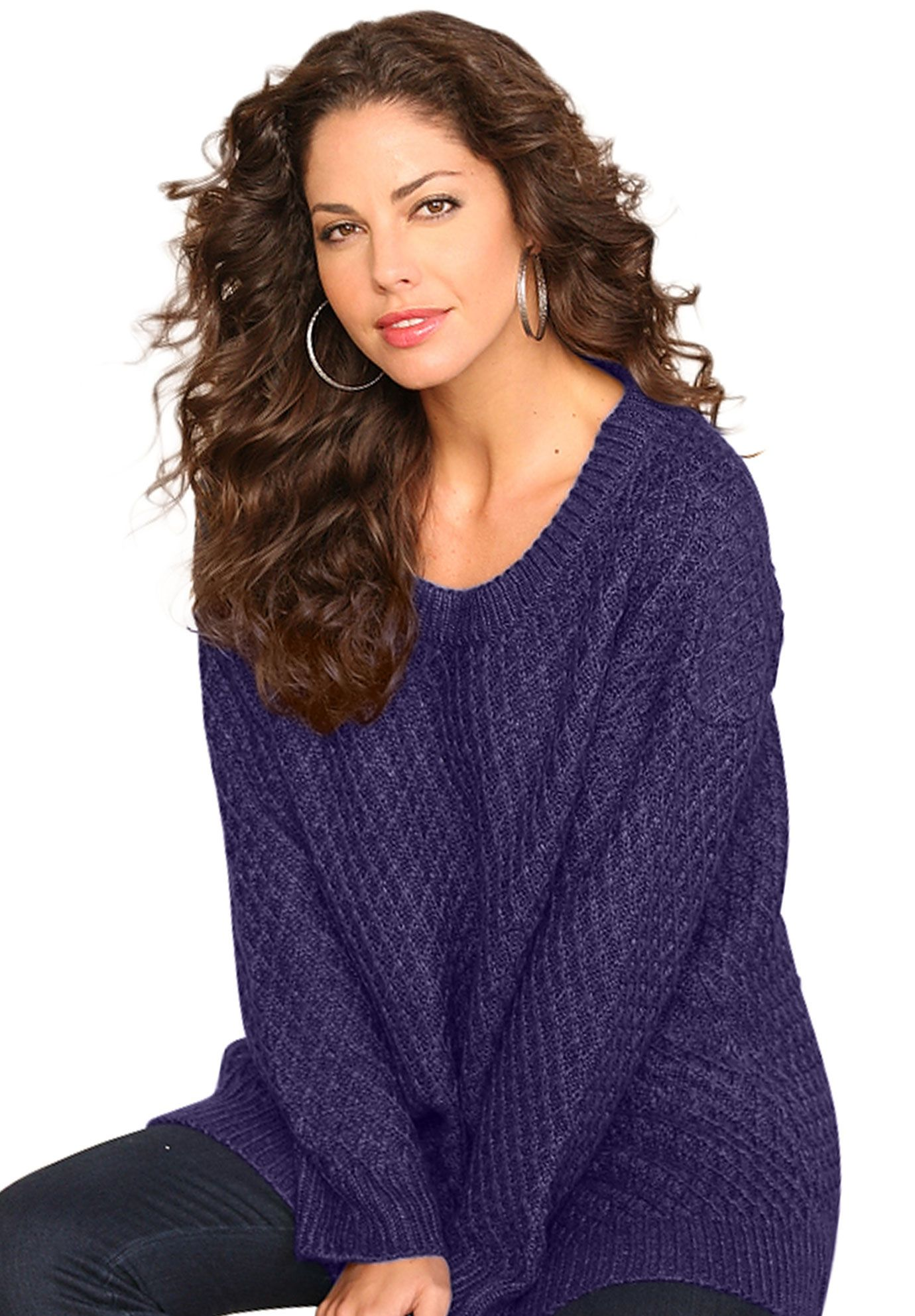 undefined | looks | Pinterest | Plus size sweaters, Deep purple and We