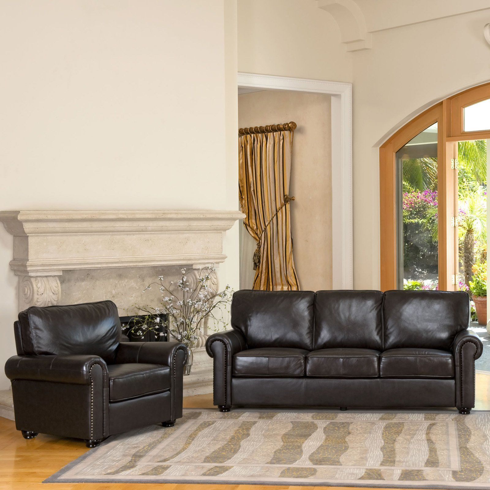 abbyson living london brown leather chair and sofa set | from
