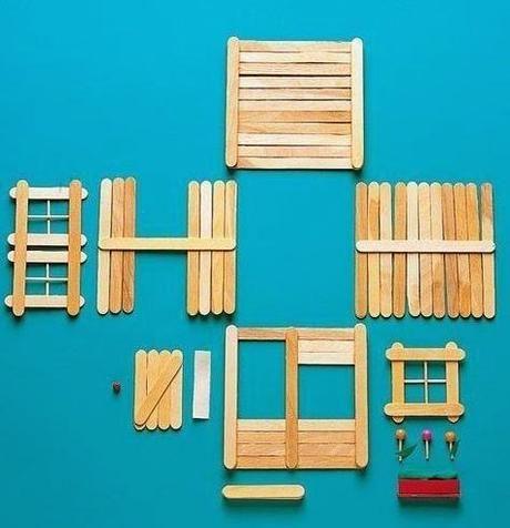 Manualidades casitas con palitos de helado pinteres - Como se hace una casa de madera ...