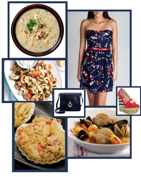"""nautical and seafood"" by brandygrr ❤ liked on Polyvore"