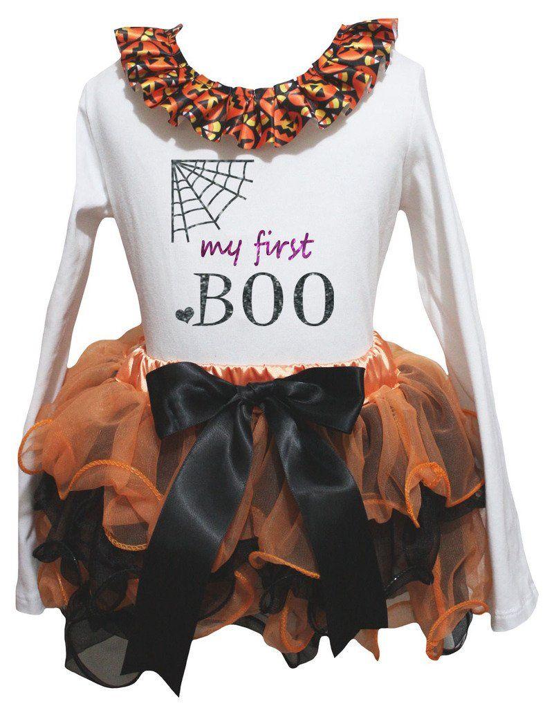 Petitebella My First Boo White L S Shirt Orange Black Petal Skirt Nb 8y