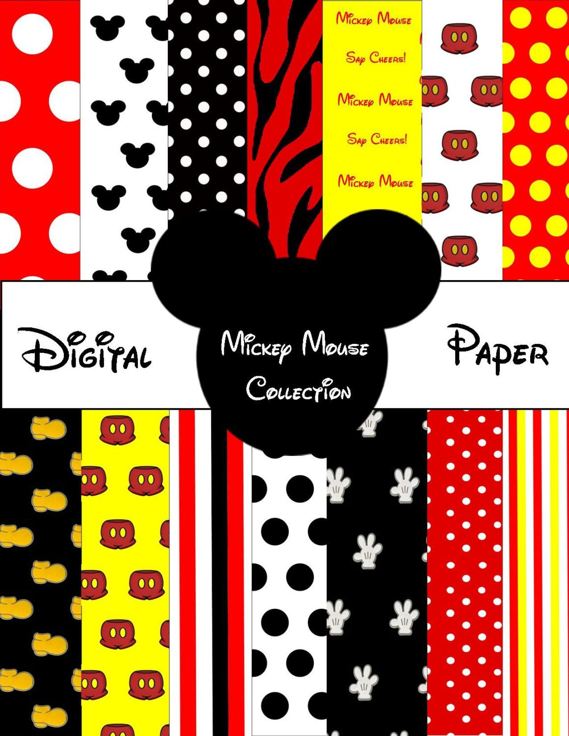 printable mickey mouse digital paper by sosweetcandybuffets 325 - Mickey Mouse Pictures Printable