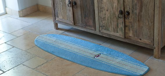 Awesome Handmade Blue And White Surfboard Rug