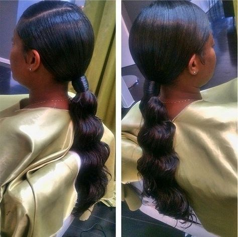 30 Classy Black Ponytail Hairstyles (With images)   Black ponytail hairstyles, Long ponytail ...