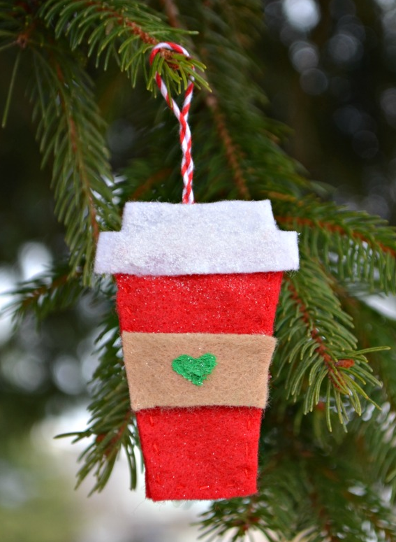 Some simple sewing and colored felt remind us just how much heart coffee  (or hot chocolate) on cold winter's day. Get the tutorial at One Artsy Mama  » - 55 Homemade Christmas Ornaments For Your Tree Christmas