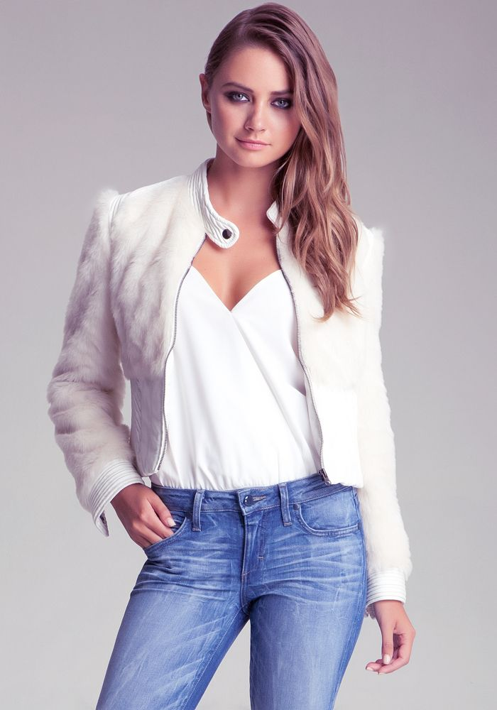 bebe | Faux Fur Crop Jacket - I am TOTALLY against wearing real fur and I think that groups like PETA need to get a grip and encourage FAUX fur to help move things away from the real thing!