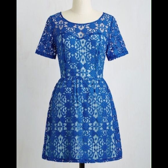 """Beautiful blue lace dress from Modcloth. Beautiful two-toned dress. 34"""" long. Fully lined except neckline and sleeves. NWT. This dress is sold out online! Get it now. Make me an offer. ☀️ ModCloth Dresses"""