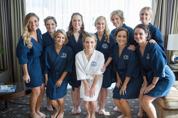 06e24b555c Monogrammed Robe - Set of 7 or More - Navy Cotton Waffle Robes - Personalized  Robe - Bridesmaid Gift - Wedding