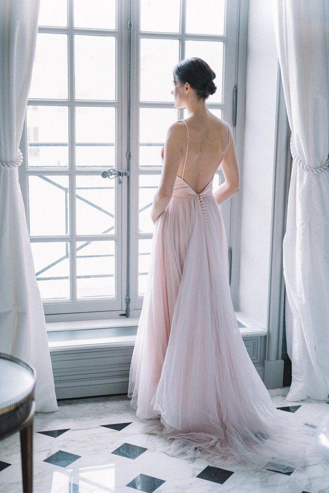 f27e75007eba Image of SAMPLE SALE; pale shell pink silk satin and tulle ballerina style  wedding dress, UK size 8/10
