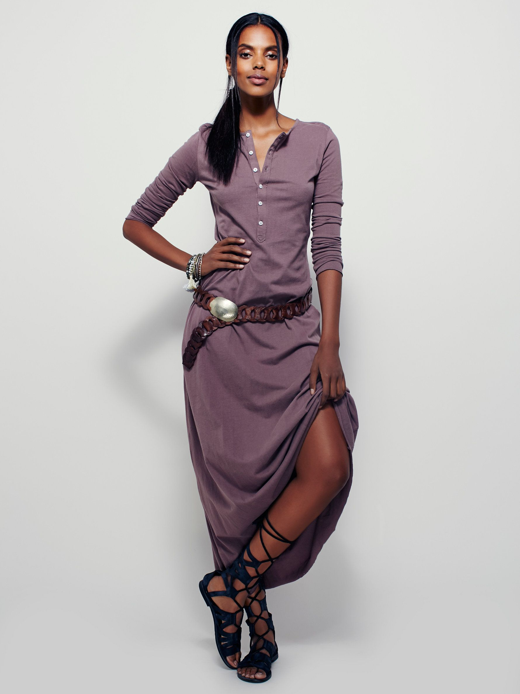 El topo dress slim fitting lightweight cotton henley maxi dress