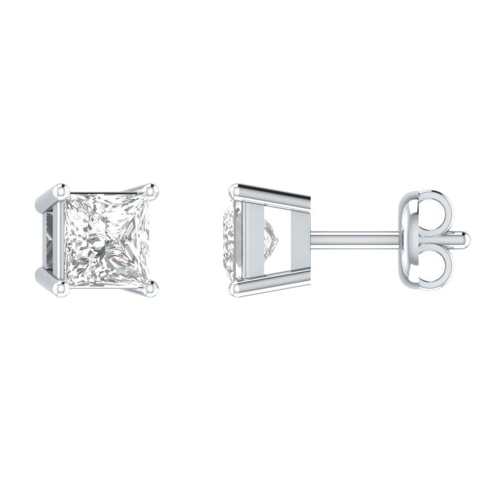 871eae936ca 1.70 Ct Princess Cut Diamond Solid 14k White Gold Solitaire Stud Earrings  Fancy