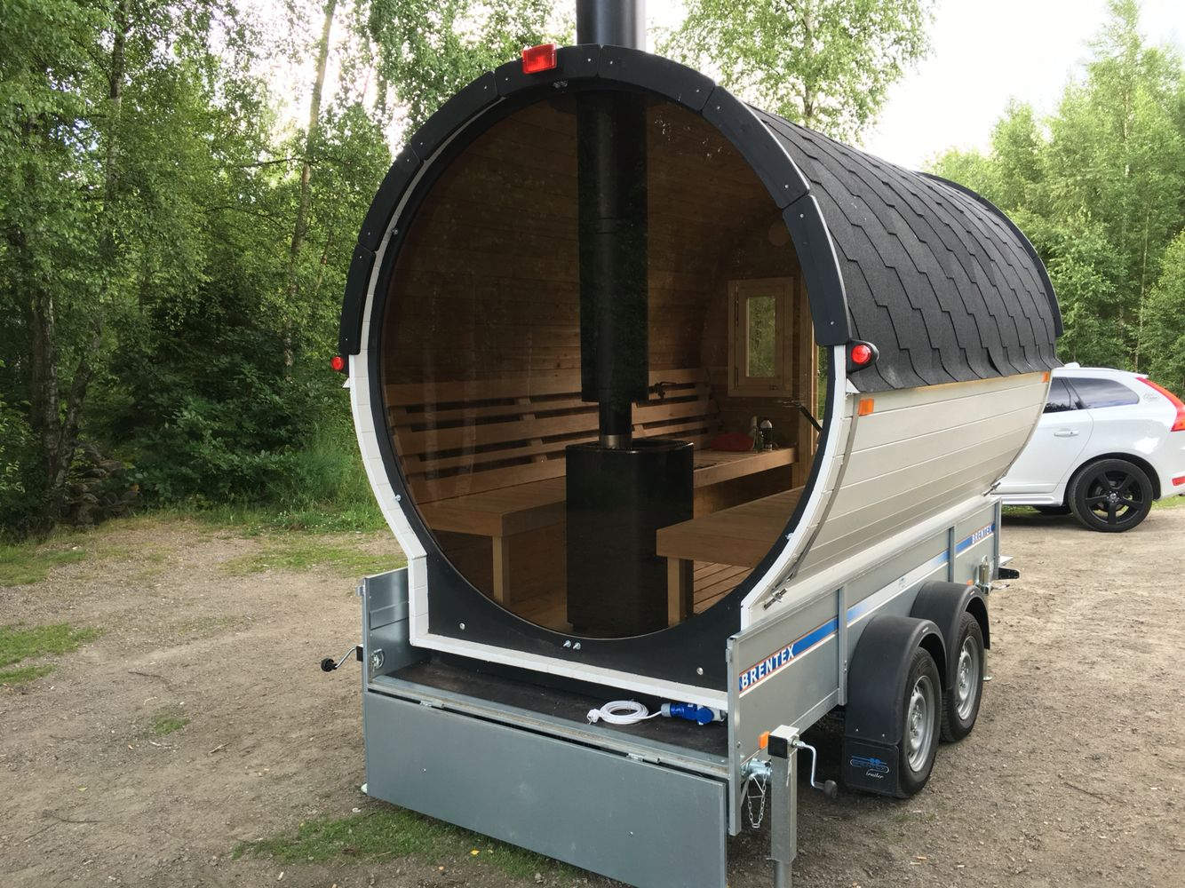Barrel Sauna With Glass Wall Permanently Built On Trailer