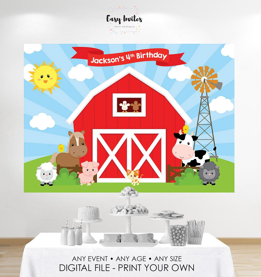Banner de cumpleaños Telón de fondo de cumpleaños granja