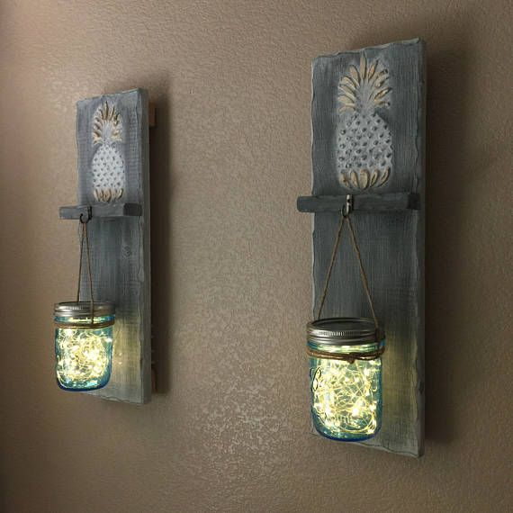 Pineapple Decor Wall Sconce Mason Jar Sconce Battery Operated Led