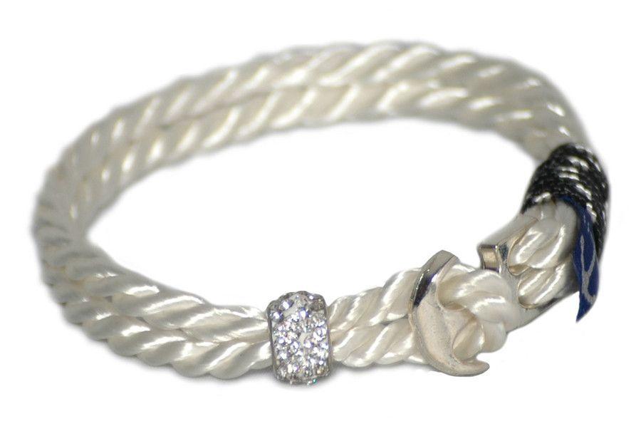 Bran Marion Crystal Beads Anchor Mens Nautical Bracelet