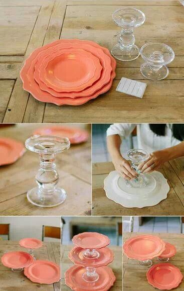 How To Make A Plate Cake Stand Easily At Home Diy Cake Dollar Store Crafts Dollar Tree Crafts
