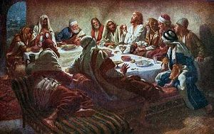 "Jesus Prays With His Disciples. BIBLE SCRIPTURE: John 17:1, ""These words spake Jesus, and lifted up his eyes to heaven, and said, Father, the hour is come;"" - http://access-jesus.com/John/John_17.html"