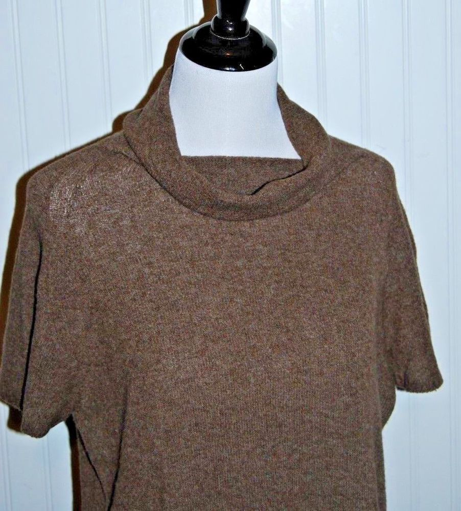 Max Mara Women's Small Brown Turtleneck Cowl Short Sleeve Wool ...