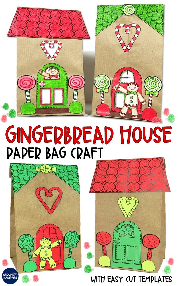 gingerbread house template for paper bag  Gingerbread House Craft and Gift Bag | Preschool christmas ...