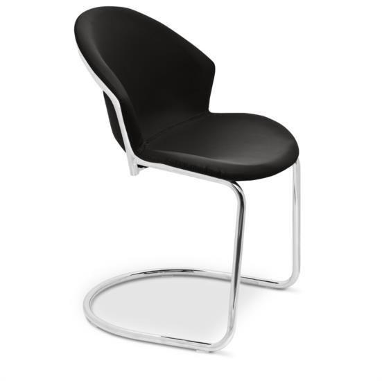 Sedia in metallo con sedile e schienale in ecopelle e gambe a slitta