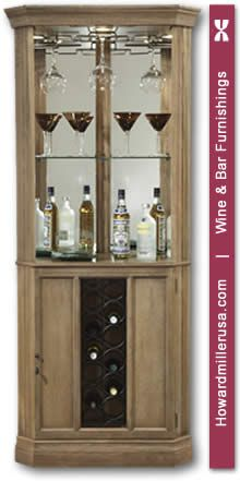 690028 Driftwood Finish Traditional Corner Wine Bar Cabinet Howardmiller Piedmont