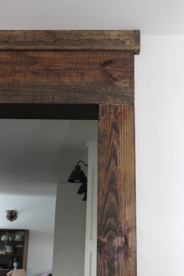 Creating Faux Wood Beams Thewhitebuffalostylingco Com In 2020 Wood Door Frame Rustic Doors Rustic Doors Interior