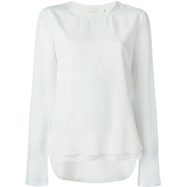 Chloé Long Sleeve Top (4.840 DKK) ❤ liked on Polyvore featuring tops, white, long sleeve silk top, white long sleeve top, loose white top, long sleeve layering tops and white silk top