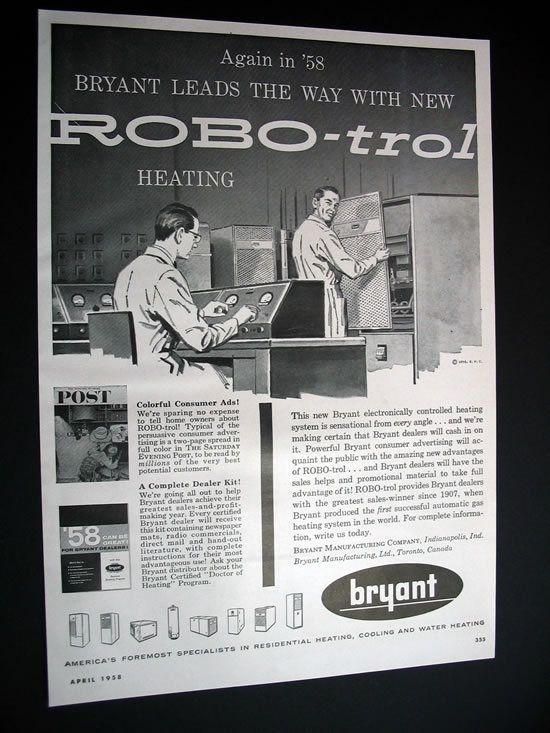 Vintage Robo Trol Thermostat Ad Heating Systems Print Ads