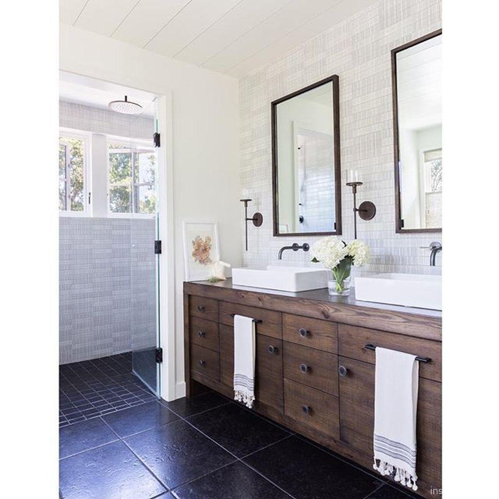 67 incredible modern farmhouse bathroom tile ideas 46