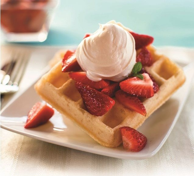Strawberry Shortcake Waffles. Free of gluten and all Top 8 allergens.
