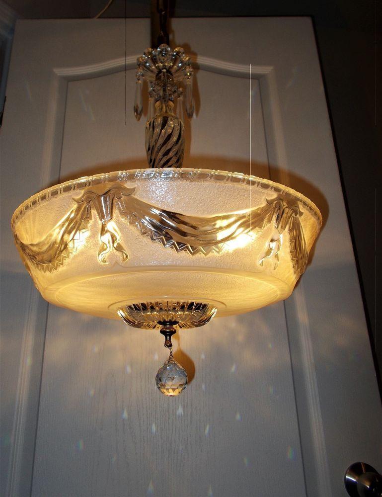 ANTIQUE VICTORIAN NOUVEAU ART DECO CHANDELIER Ceiling Light Fixture ...