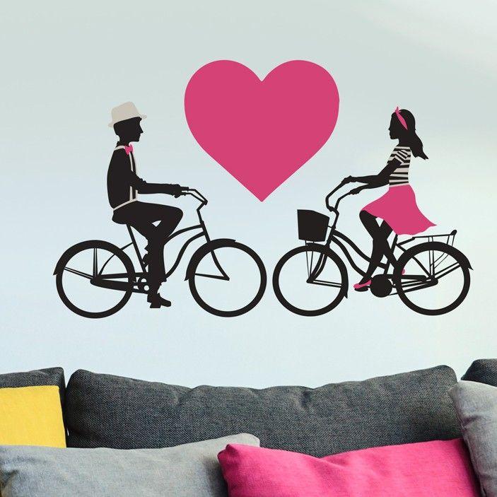 Bicycle Couple Love Cute Heart Custom Vinyl Wall Art Decal For - Custom vinyl decals bicycle