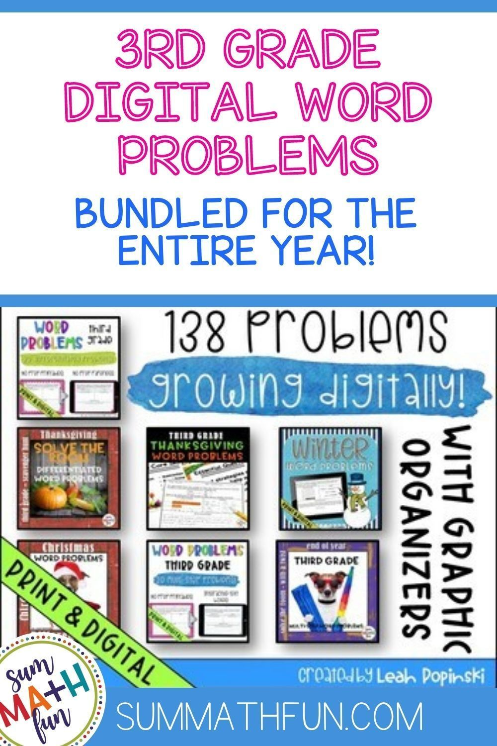 1 2 Off Digital And Print Word Problems Bundled For The Year 3rd Grade Word Problems Sum Math Fun Solving Word Problems [ 1500 x 1000 Pixel ]