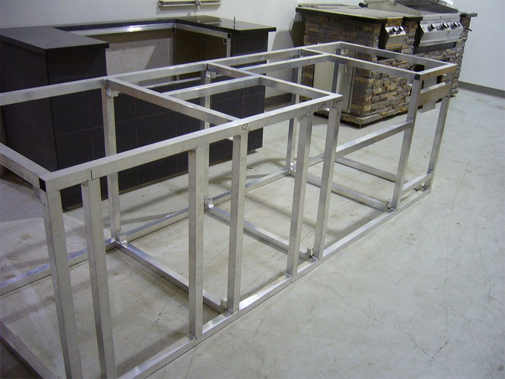 Base Cabinet Frame For Outdoor Kitchen Out Of Aluminum Tubing