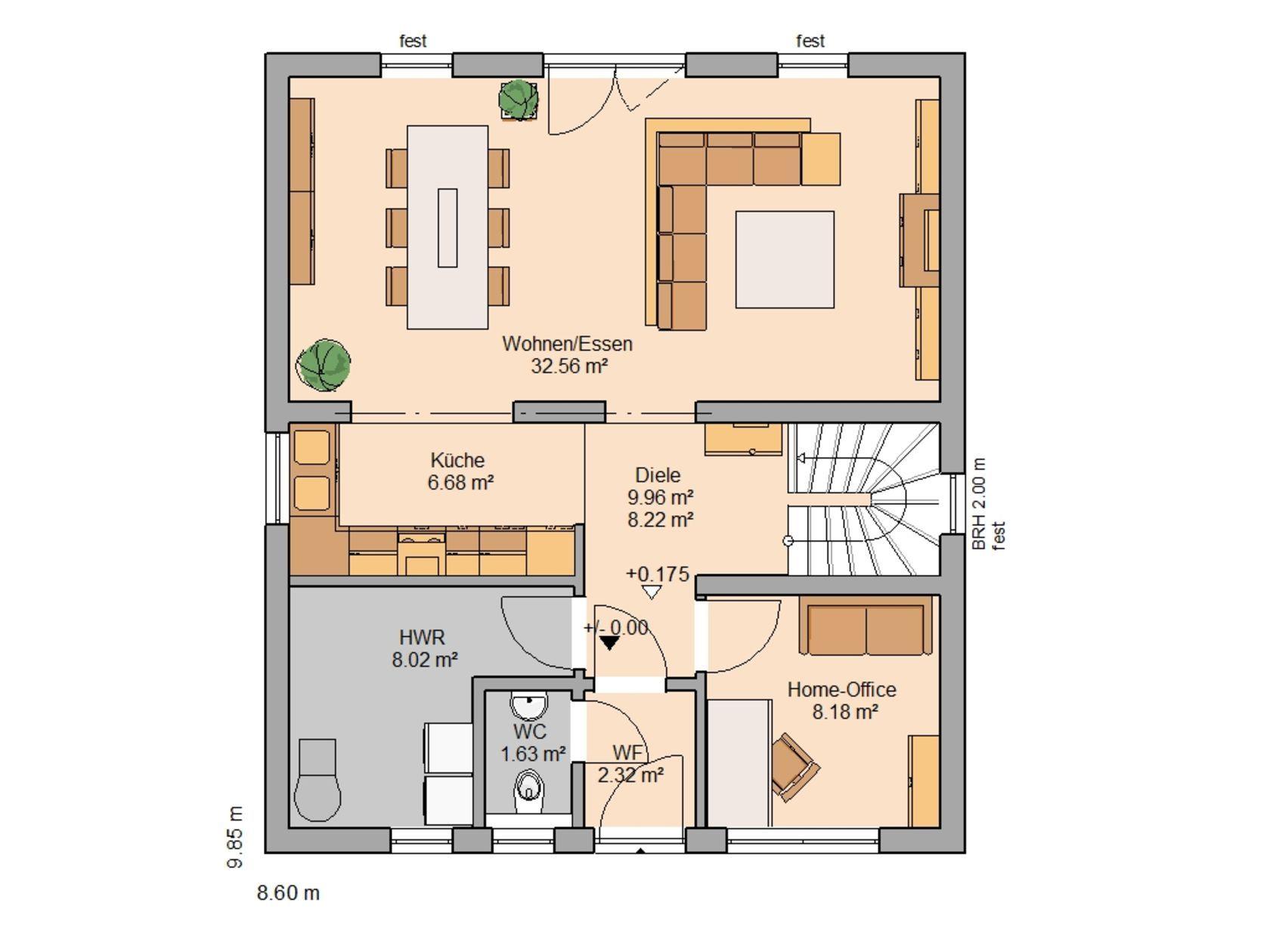 Kern-Haus Familienhaus Komfort Grundriss Erdgeschoss | Haus ...