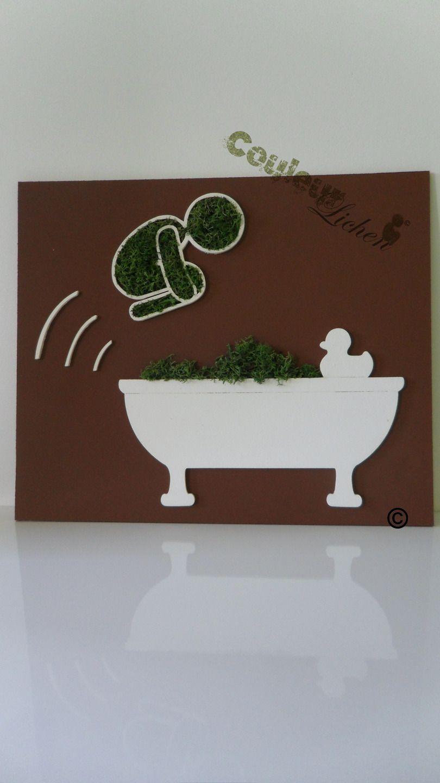 Le Plongeur En Lichen Pour La Salle De Bain, Tableau Végétal : Décoration  Murale