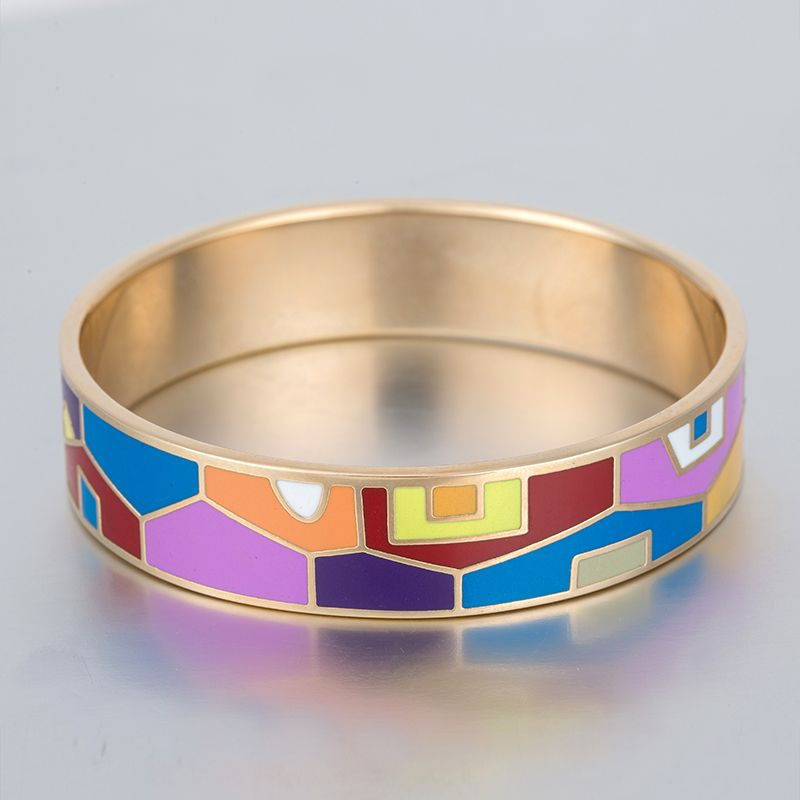 Artistically Hand Decorated Designs Vintage Enamel Bangle Bracelet Luxury Famous Brand Jewelry Gold Plated Bracelets For