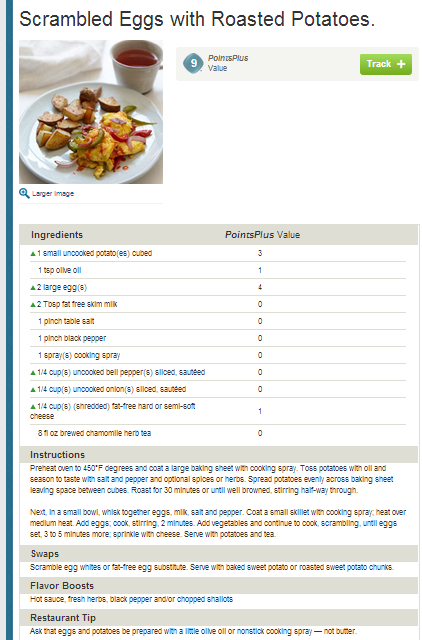 Weight Watchers Simple Start - Scrambled Eggs with Roasted Potatoes. People who attend meetings lose 8X more weight!