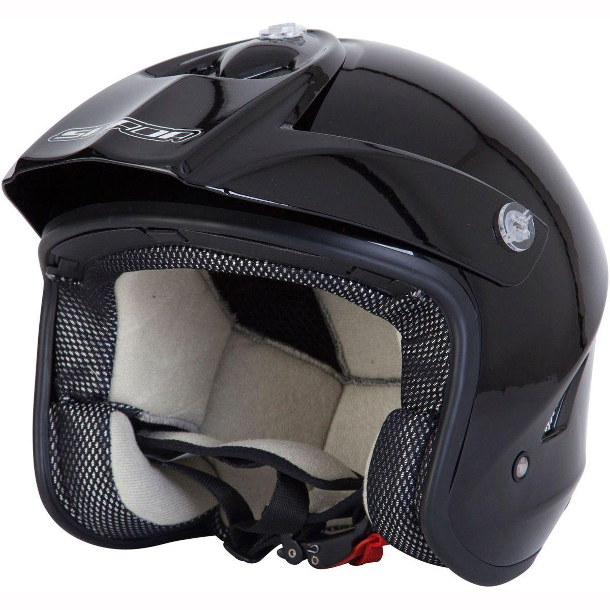 SPADA MATT BLACK OPEN FACE MOTORCYCLE HELMET NEW