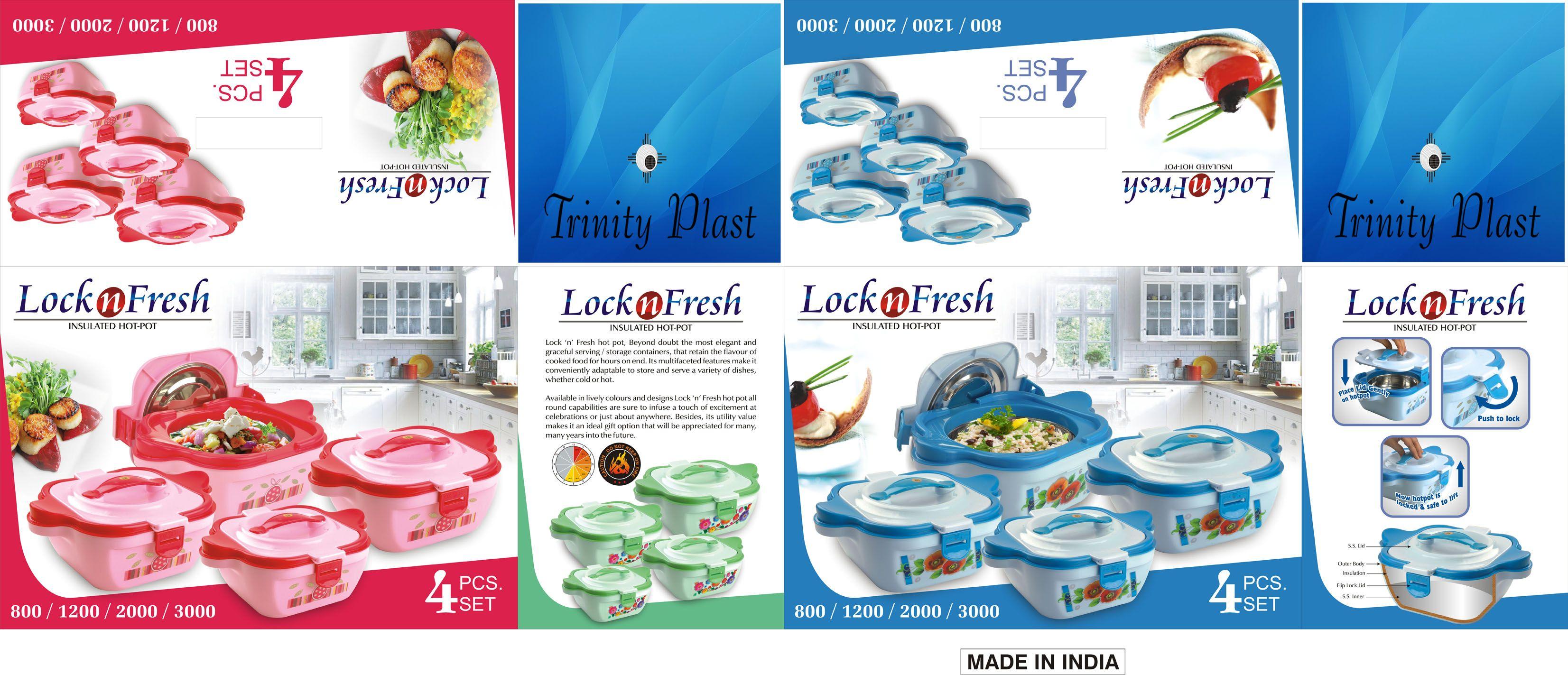 TrinityPlast #Lock & #Fresh #4Pcs #SS #Hot #Pot #Suppliers #Traders ...