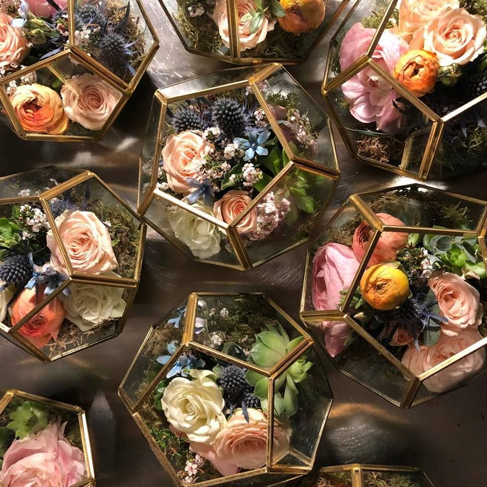 Geometric Shapes Filled For Spring Blooms And Unique Textures For Affordable We Affordable Wedding Centerpieces Steampunk Wedding Decorations Terrarium Wedding