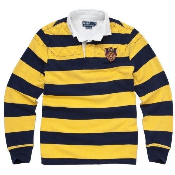 Buy Polo Ralph Lauren Stripe Rugby Shirt, Yellow/Navy online at.