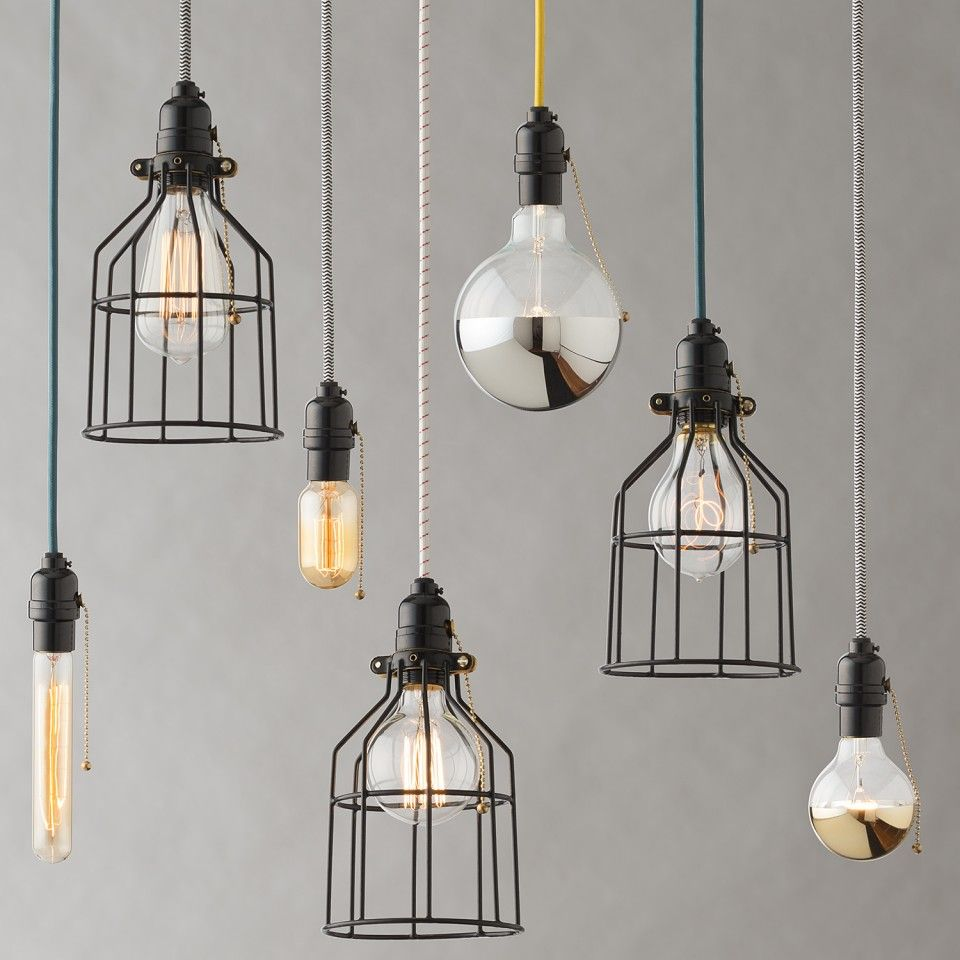 Utility Pendant Cage | Plug-In Fixtures | Lighting (With ... on Sconces No Electric Plug id=27763