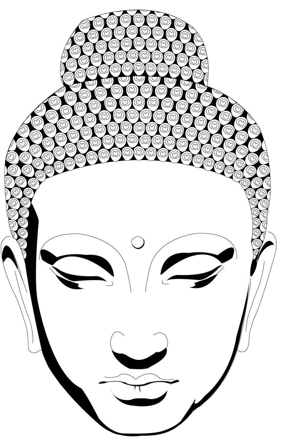 Buddha face coloring pages go back images for simple for Easy detailed drawings