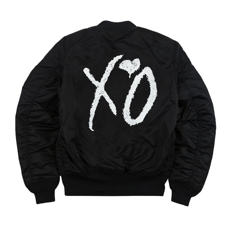 ALPHA BOMBER JACKET CLASSIC XO LOGO SCREEN PRINT ON BACK AND CLASSIC XO  HAND LOGO SCREENPRINT ON LEFT BREAST. MACHINE WASH COLD, DELICATE CYCLE, ...