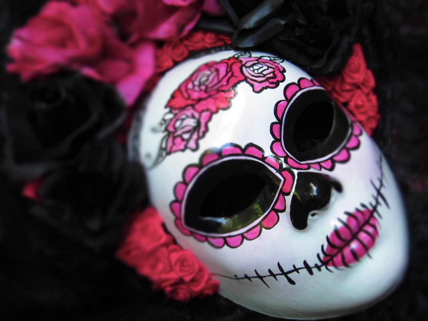 Hot Pink Mask for Day of the Dead/Dia de los Muertos/Halloween/Costume. $189,00, via Etsy.