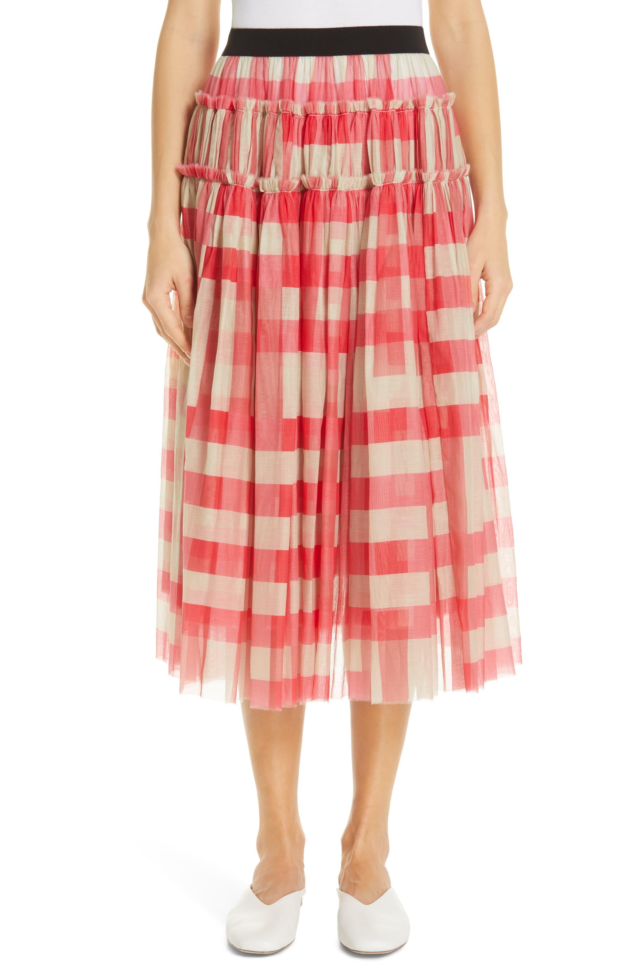 1dcaee58aa Women's Sara Lanzi Gathered Cotton & Silk Midi Skirt, Size X-Small ...