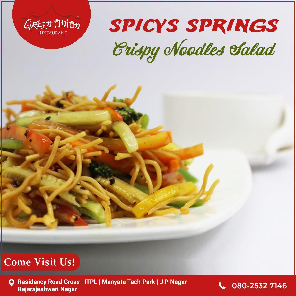 Best Time Pass Is To Eat Noodles Enjoy Eating Crispy Noodles Salad From Green Onion Visit Our Nearest Restaurant Now Food Crispy Noodle Salad Noodles Lover