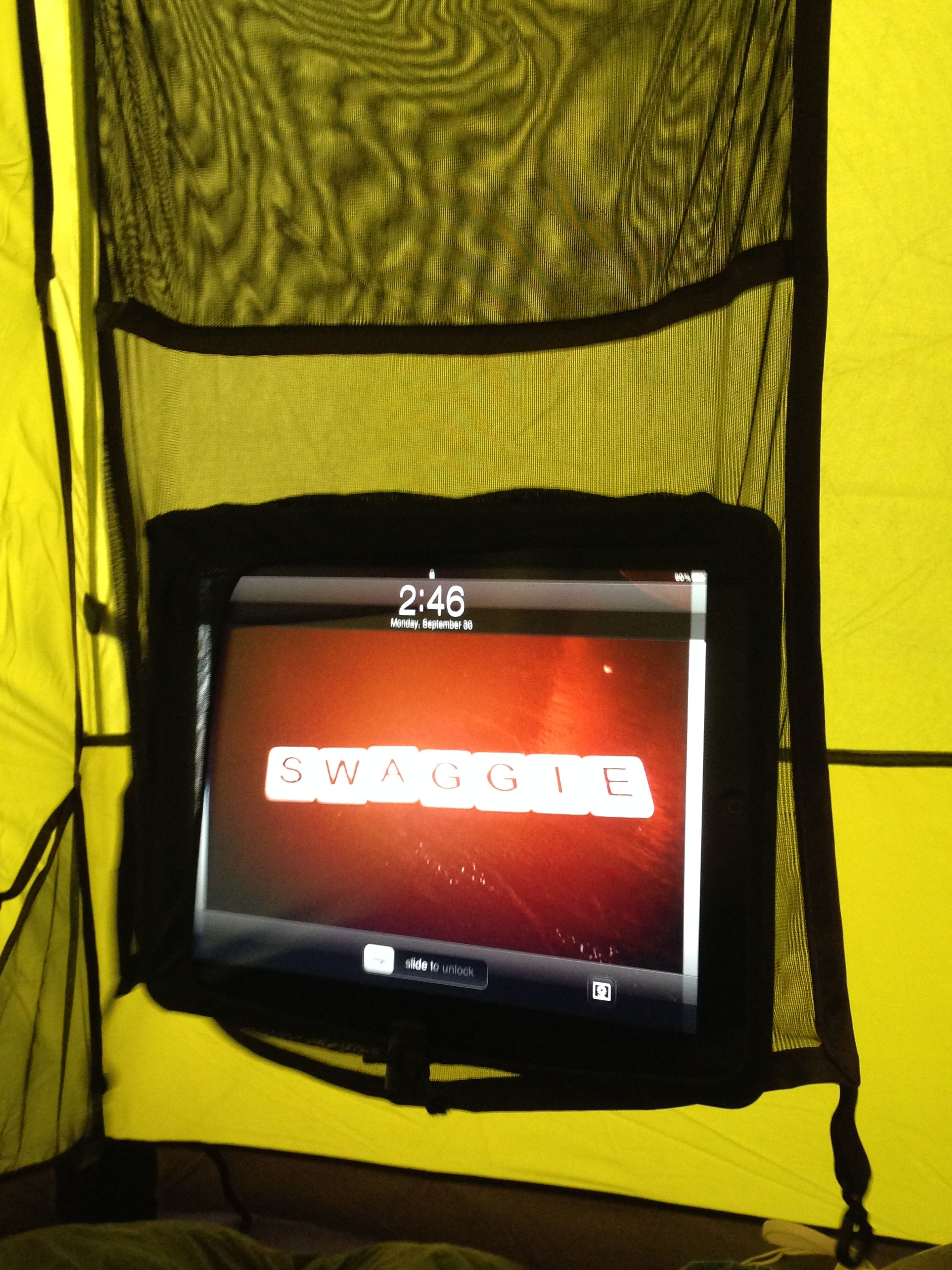 New tent from Peregrine that comes with a gear sling for iPads. Home entertainment center & New tent from Peregrine that comes with a gear sling for iPads ...