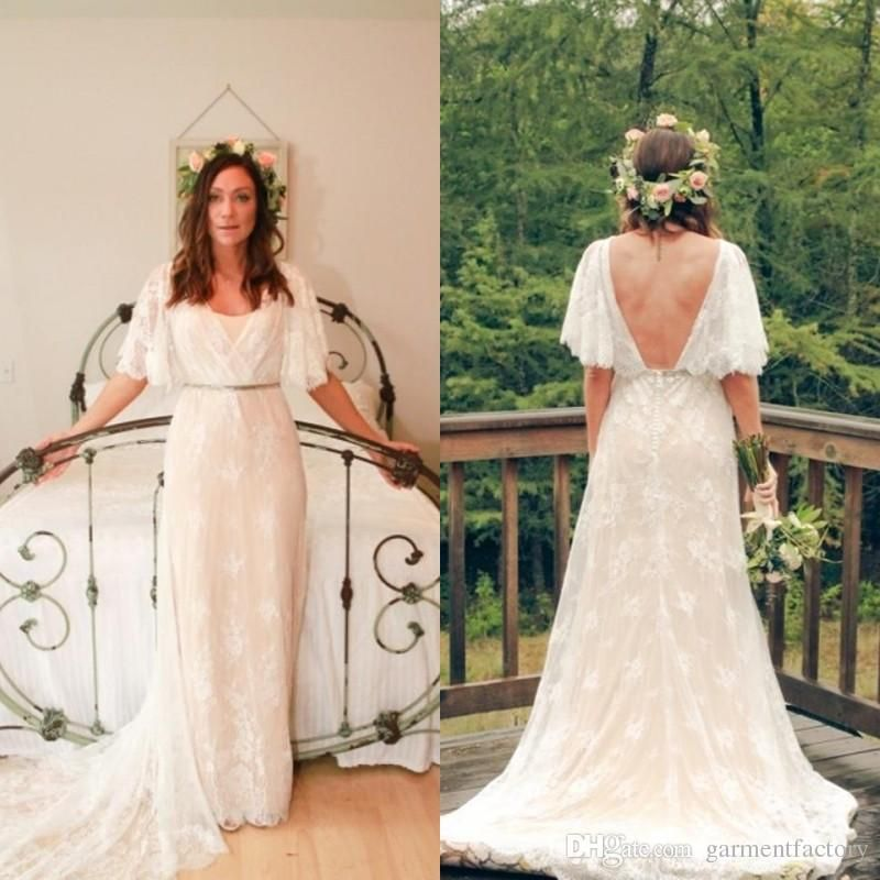 Cheap Fall 2016 Country Bohemian Wedding Dress V Neck Bell Sleeves A Line Beautiful Lace Overlay Nude Slip Greek Goddness Backless Gowns As Low